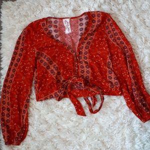 Sadie & Sage Red Top Cropped Tye Front